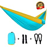 Image of SharkShake Hammock A Double Parachute Camping Hammock Portable For Backpacking, Hiking, Traveling, The Beach And Yard – Durable Rip-Stop Fabric With Ropes And Carabiners (Blue/Golden Yellow)