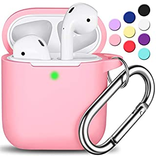 AirPods Case Cover with Keychain, Full Protective Silicone AirPods Accessories Skin Cover for Women Girl with Apple AirPods Wireless Charging Case,Front LED Visible-Pink
