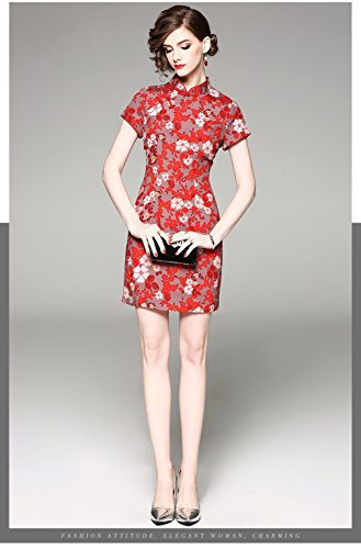 Fit Stand Slim Cheongsam cotyledon Dresses for Sleeve Collar Dresses Neck Short Formal Short Women pqA4a