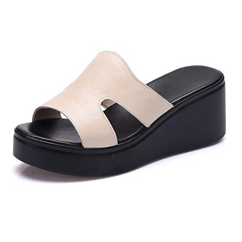Verano Sandalias Zapatillas de suela gruesa Plataforma de cuero impermeable Pendiente con muffin Bottom Open Toe Sandalias de verano Color / tamaño opcional ( Color : Negro , Tamaño : EU36/UK4/CN36 ) Blanco