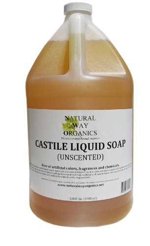 Natural Way Organics Ultra Mild Unscented Castile Soap - Perfect for Natural Skin Care and Hair Care - Make Your Own DIY Green Cleaning Products - 100% Pure - No Artificial Chemicals, Fragrances or Colorants 128 ounce