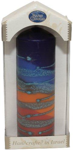 Majestic Giftware SC-RBPM-B Safed Pillar Havdalah Candle, 2 by 6-Inch, Rainbow Blue (Safed Pillar Candles)