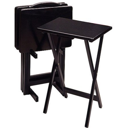 Set of 4 with Stand, Rectangular TV Tables, Black by Generic