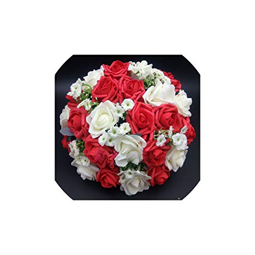 Fantasticlife06 Handmade Artificial Wedding Bouquet Flower Bridal Bouquet for Wedding Decoration Flores,Red
