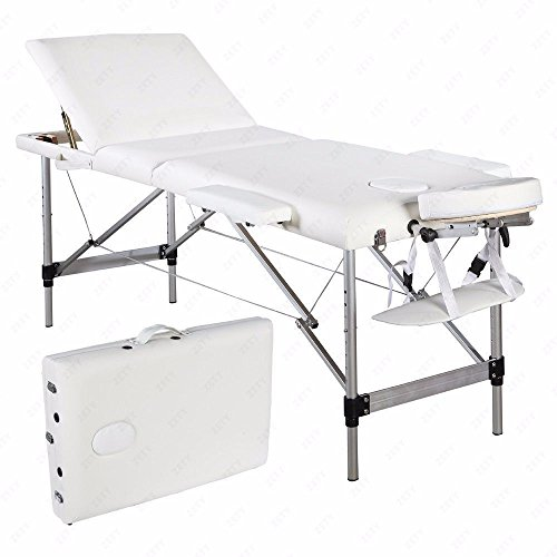New 3 Fold Massage Table Portable Aluminum Facial SPA Bed Tattoo White w/Carry Case – Durable for Relaxation Sleep well Size 73″ Lx 27″W (table only)