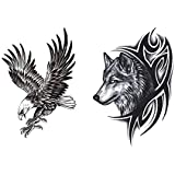Temporary Eagle and Wolf Tattoo Stickers Waterproof Tattoo Paste, 2 Pack