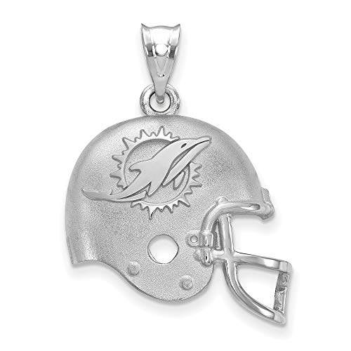 Q Gold NFL Sterling Silver LogoArt Miami Dolphins Football Helmet with Logo Pendant