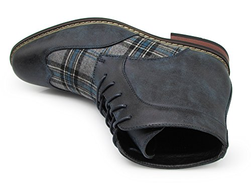 Titan04 Uomini Spettatore Tweed Plaid Due Toni Chukka Caviglia Stivali Alari Oxford Stivali Traforati Lace Up Scarpe Eleganti