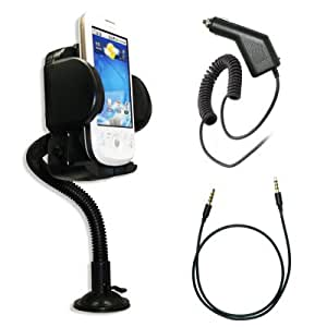 Premium 3.5mm Stereo Headphone Jack Cable + Adjustable Car Windhsield Mount Holder + Rapid Car Charger for Samsung Seek M350 / Moment M900 / Acclaim R880