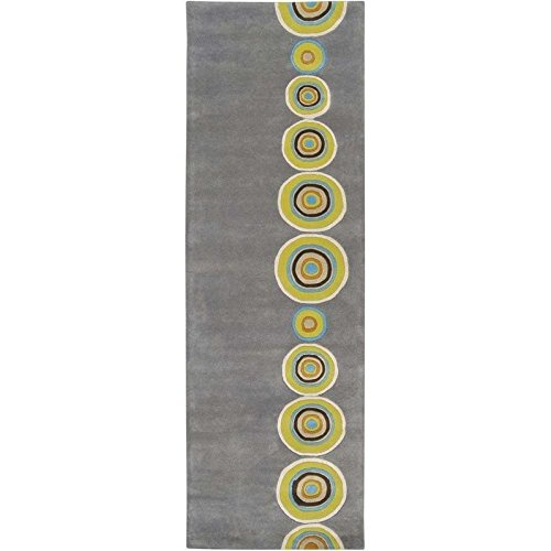 Surya Dazzle DAZ-6537 Contemporary Hand Tufted 100% New Zealand Wool Charcoal Gray 2'6'' x 8' Geometric Runner