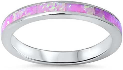 Lab Created Pink Opal Band .925 Sterling Silver Ring sizes 4-12