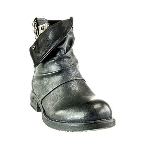 Angkorly - Zapatillas de Moda Botines biker - motociclistas cavalier stile vendimia mujer zapato acolchado trenzado Talón Tacón ancho 3 CM - Negro