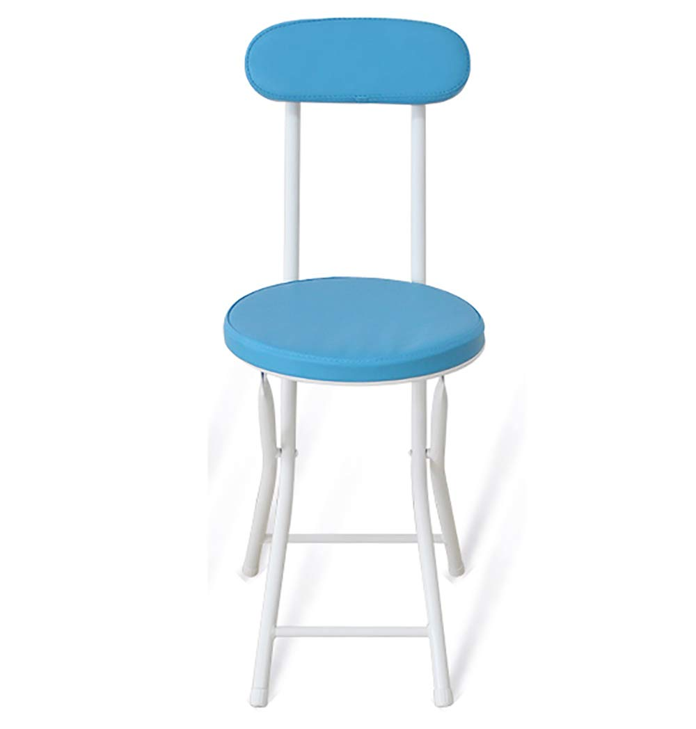 Simple Folding Small Chair Back Office Stool, Restaurant Round Seat Fishing Kitchen Outdoor Garden -Blue