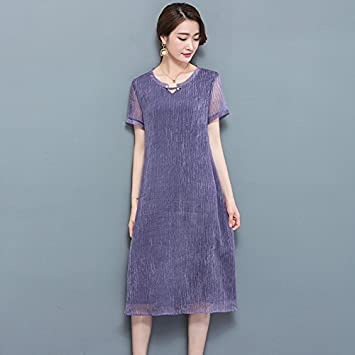 XIU*RONG Seda Seda Largos En Primavera Vestido De Seda Violeta 2Xl