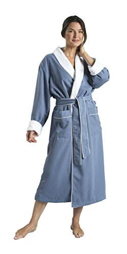 Monarch/Cypress Unisex Plush Lined Microfiber Robe Small Periwinkle