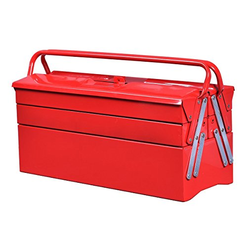 Goplus 20-Inch Portable 5-Tray Cantilever Metal Tool Box Steel Tool Chest Cabinet, Red by Goplus (Image #2)
