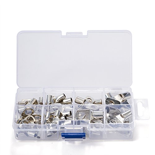 CREATORELE 60pcs Bolt Hole Tinned Copper Terminals set-Wire terminals connector Cable lugs Battery SC Terminals Glimpse of Mouth - Lug Connector