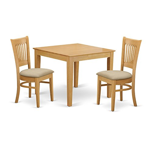 3 Piece Kitchen Dinette (East West Furniture OXVA3-OAK-C 3 Piece Kitchen Dinette Table and 2 Chairs Set)
