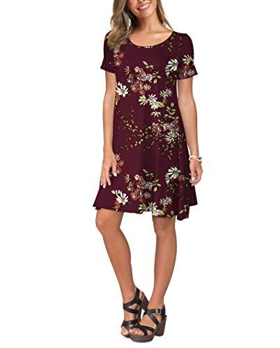 KORSIS Women's Summer Casual T Shirt Dresses Short Sleeve Swing Dress Pockets 3