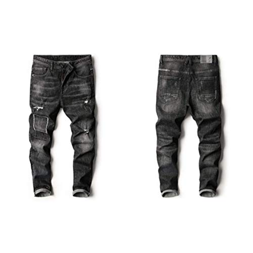 Modo Nero Pantaloni Casuali Dei Regola Uomini Degli Jeans Di Sottili Popolari Skinny Huixin Giovani All'aperto twq64BW