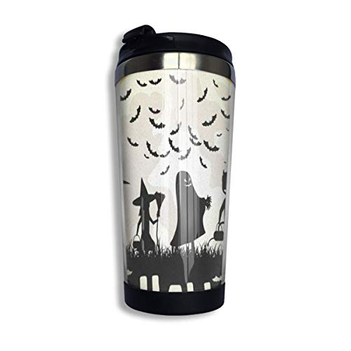 (Travel Coffee Mug Halloween Children Trick Or Treat Coffee Cup Thermos With Quick Seal Lid Stainless Steel Insulated)