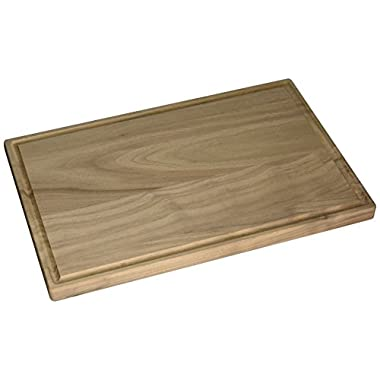 Large Rectangular Walnut Wood Cutting and Chopping Board with Juice Drip Groove (17 x 11 Inches)