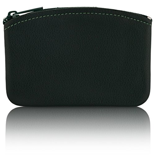 Classic Men's Large Coin Pouch Change Holder, Genuine Leather, Zippered Change Purse, Pouch Size 5 x 3 By Nabob ()