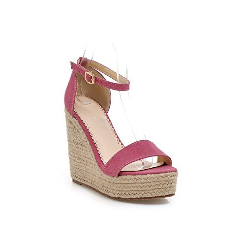 AmoonyFashion Womens Buckle High-Heels Imitated Suede Solid Open-Toe Sandals RoseRed E9C6MI