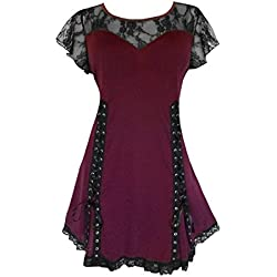 Dare To Wear Victorian Gothic Boho Women's Plus Size Roxanne Corset Top Burgundy 3x