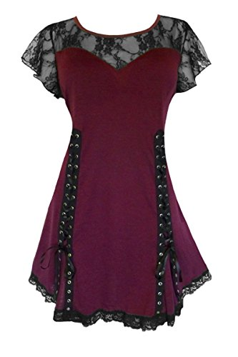 Dare to Wear Victorian Gothic Boho Women's Roxanne Corset Top Burgundy L (Shirt Elf Blood)