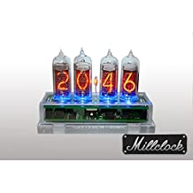 IN-14 NIXIE TUBE CLOCK ASSEMBLED ACRYLIC ENCLOSURE AND ADAPTER 4-tubes by MILLCLOCK