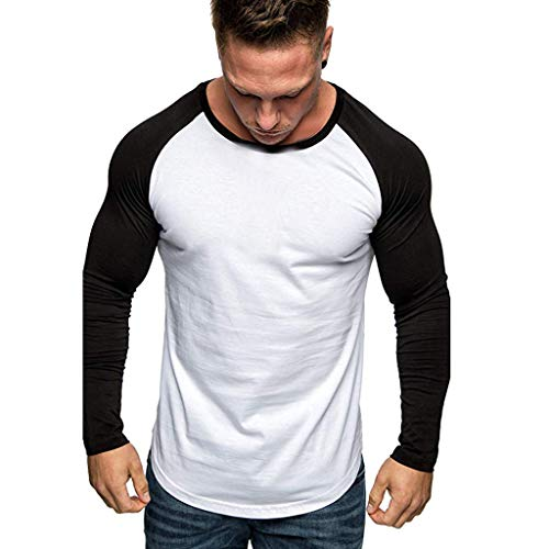 iHHAPY Mens Shirts Blouse Long Sleeve Tops Patchwork Tee Sportwear Solid T-Shirt Round Collar Shirt ()