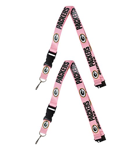 Official National Football League Fan Shop Authentic 2-pack NFL PINK Lanyards/keychains Badge Holder (Green Bay Packers)
