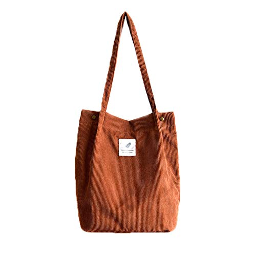 Corduroy Totes Bag - WantGor Women's Shoulder Handbags Big Capacity Shopping Bag (Brown)