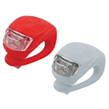 LED Concepts® 2-pack of RED and WHITE Silicone LED Waterproof FRONT and REAR Bicycle Light set