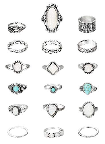 Hanpabum 18Pcs Vintage Knuckle Rings Women Stackable Boho Finger Rings Set