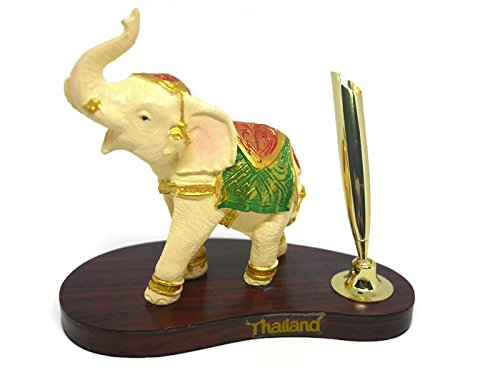 Elephant resin made of thailand Pen holder for office use. (Dna Silk Tie)