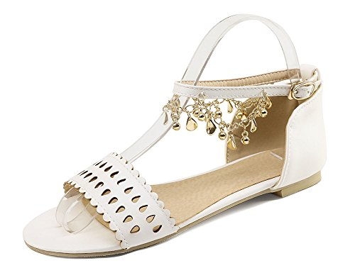 Easemax Womens Stylish Across The Top Ankle Bukle Strap Flat Open Toe Sandals White