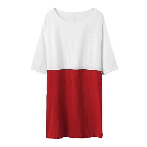 POTO Dresses for Sale,Women Casual 1/2 Sleeved Patchwork Cotton Linen Loose Pockets Tunic Dress (2XL, Red) (Sales Apparel Pleated Wrap)