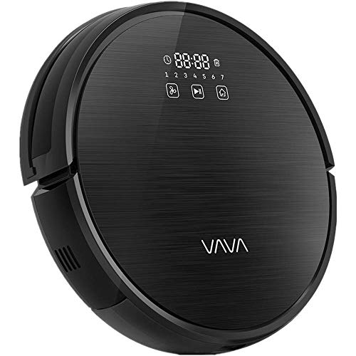 VAVA Robot Vacuum Cleaner 1300Pa Strong Suction, Super Quiet, Self-Charging Robotic Vacuum Cleaner, Cleans Hard Floors to Medium-Pile Carpets for Pet Hair (Black)