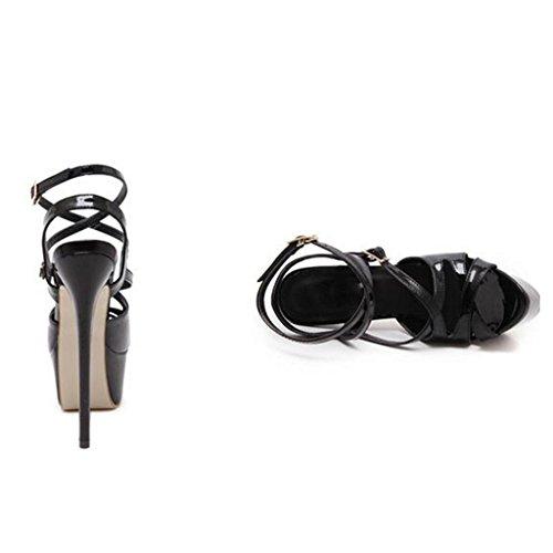 W&LM Sra Tacones altos Sandalias Charol Metal Hebilla Zapatos de la boca de los pescados Plataforma a prueba de agua Es bueno Sandalias Black