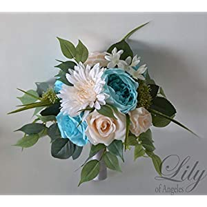 Wedding Bouquet, Bridal Bouquet, Bridesmaid Bouquet, Silk Flower Bouquet, Wedding Flower, Tiffany, Robin's egg blue, light turquoise, Malibu, blue, aqua, pool, blush, light peach, Lily of Angeles 112
