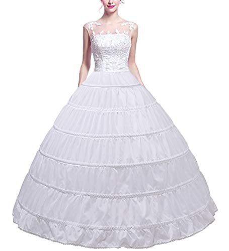 Full Shape 6 Hoop Skirt Ballgown Petticoat Underskirt Slip for Wedding Dress Quinceanera Gown Cosplay Dress Adjustable Waist