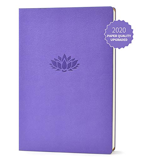 Evolway Fitness Journal and Planner,100 Days Diet and Workout Log, Gray Panther/Yellow Flash/Purple Lotus Design, Leather Cover, Sturdy Binding, Thick Pages & Laminated (Purple2.0)