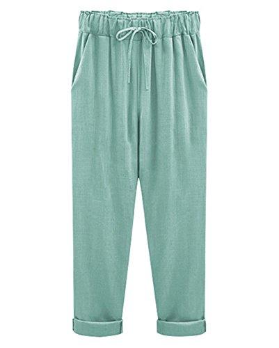 Mujer Pantalones Harem De Cintura Elástica Con Cordón Tallas Grandes Suelto Casuales Capri Pantalones Lago verde /Capri