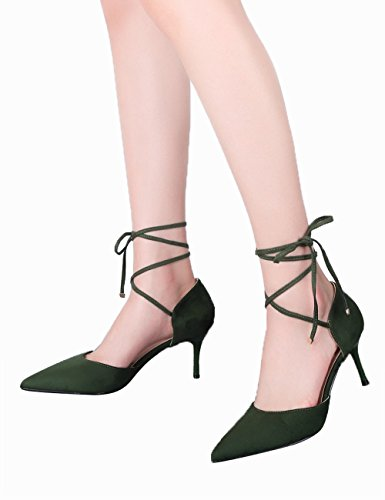 Robe BIGTREE Chaussures Escarpins Vert Pointu Gladiateurs Femmes Stiletto De Sandales Lacets Sandales UOHwq0Tn