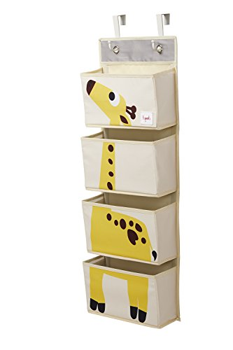 3 Sprouts Hanging Wall Organizer- Storage for Nursery and Changing Tables (Giraffe Yellow)