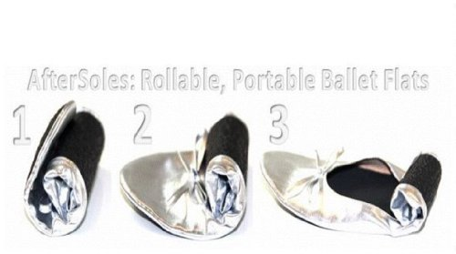 Doposcuola Ballerine Arrotolabili Con Borsa Scarpa Separata, Medio (7-8), Argento