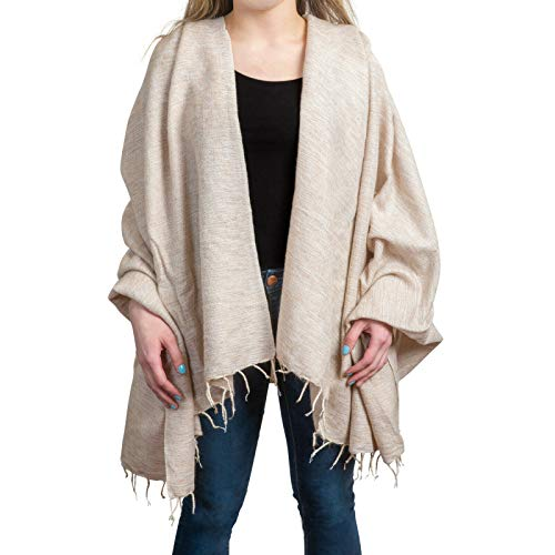 Wrappers Handmade Wool Shawl Wrap Pashmina Over sized Scarf 50 x 72 Nepali Blanket Throw - Beige Christmas Gifts for Mom Stocking Stuffers