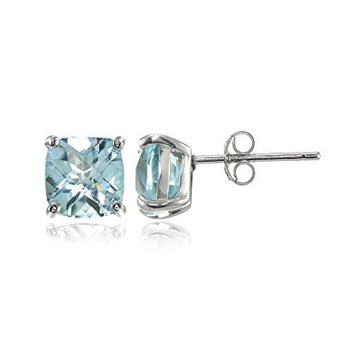 Cushion Cut Blue Topaz Earrings - Sterling Silver 6mm Cushion-Cut Blue Topaz Stud Earrings